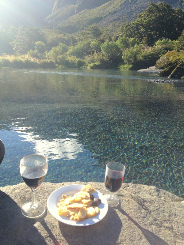 End of the day cheese and wine reward. This spot we found near Homer Hut.