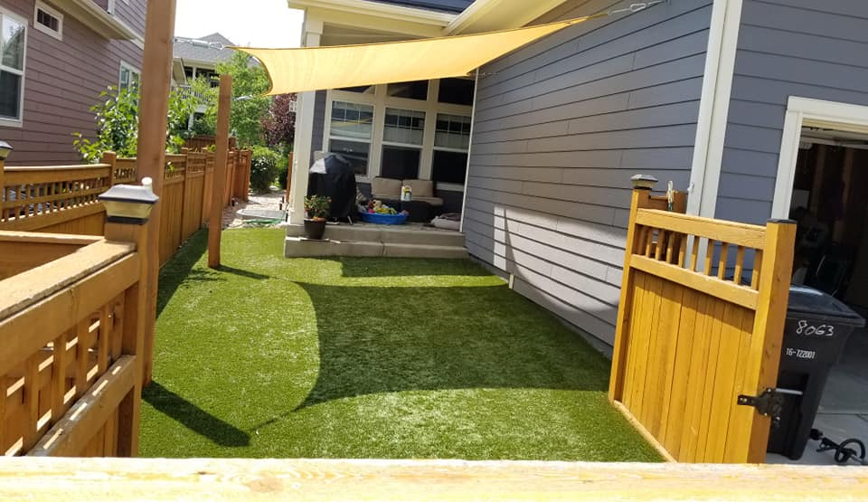 Artificial turf can be very hot in the summer months. We installed a canopy to cool the turf for the dogs. -