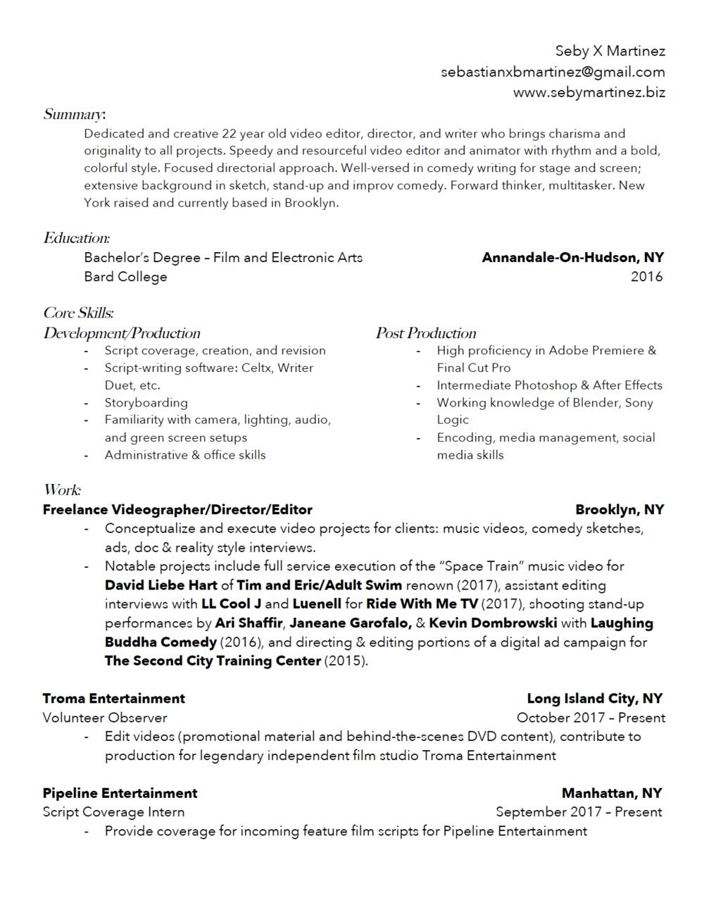 resume contact seby martinez video editor digital artist
