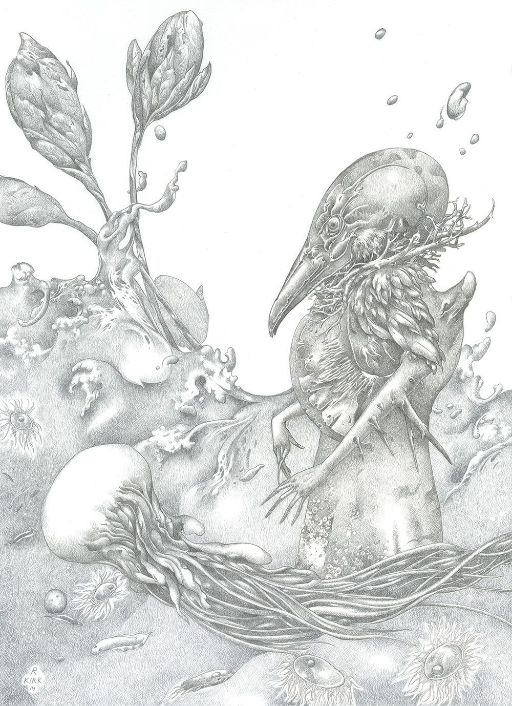 "Warm Sea   2014, silverpoint on board, 11"" x 8"""