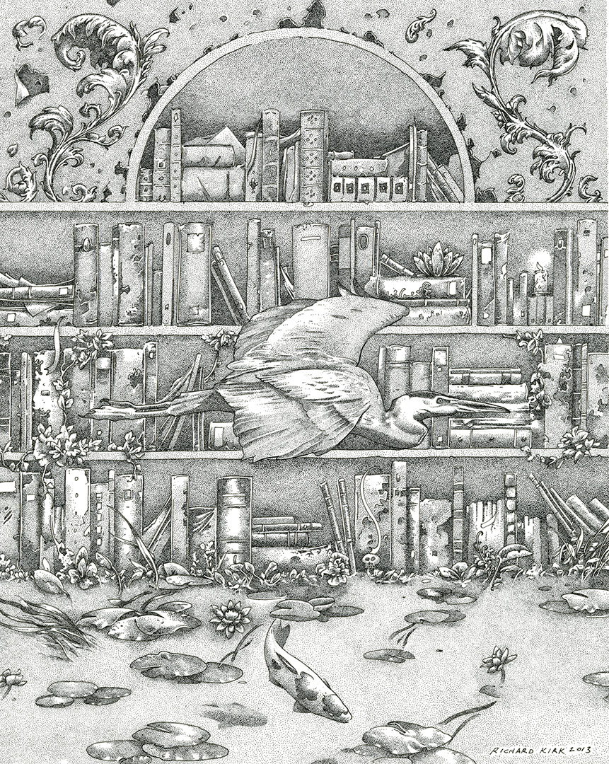 "Drowned Library 2013, ink on paper, 10"" x 8"""
