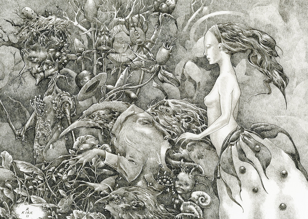"""Cuckoo's Promise 2011, ink on paper, 10"""" x 14"""""""