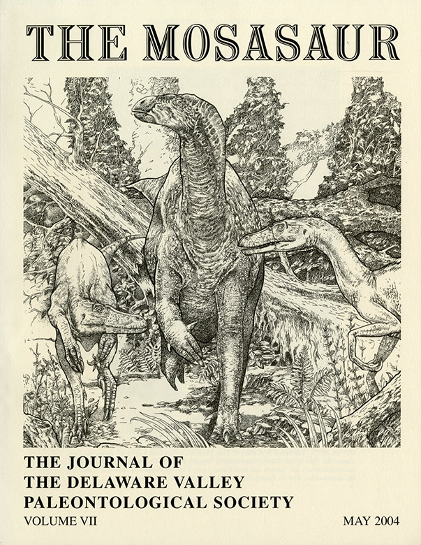 The Mosasaur, Vol.2. Delaware Valley Paleontological Society, 2004. Featuring cover by Richard A. KIrk.