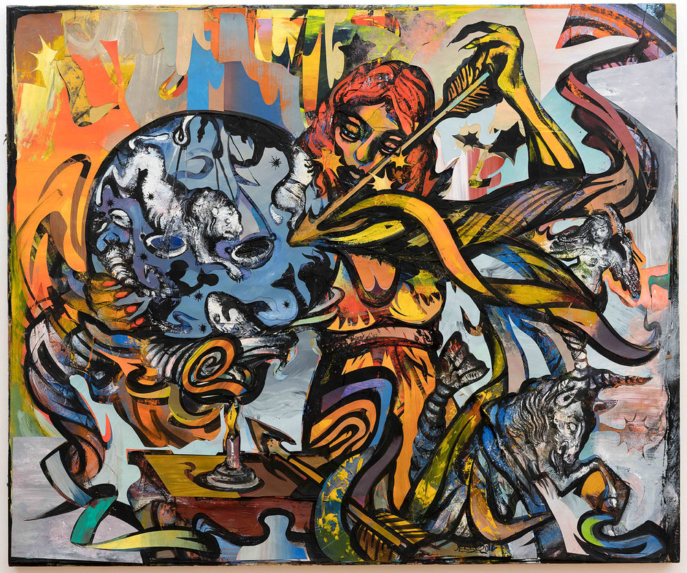 Birth of the Zodiac, 2012, 48 x 60 inches, vinyl and aerosol paint paper collage mounted on canvas