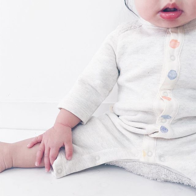 Someone is busting out of their playsuit. #stopgrowing #😫 // Kinari Playsuit, complete with cozy bum.  #japanmade
