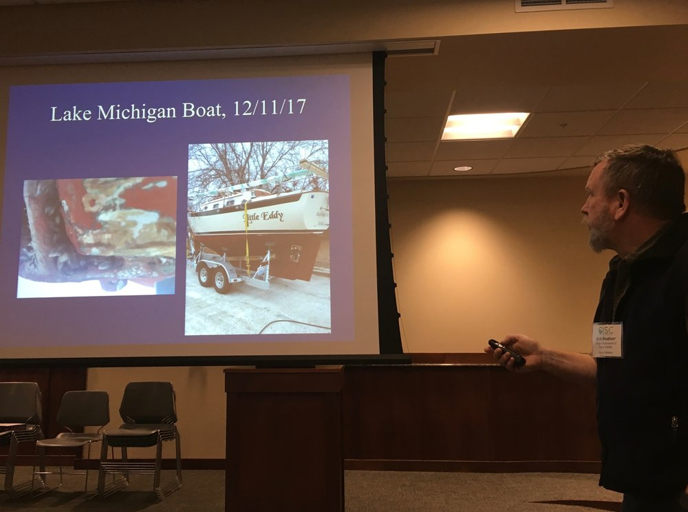 Rick Boatner, Oregon Department of Fish & Wildlife's Invasive Species/Wildlife Integrity Coordinator, talking about intercepting boats with invasvie mussels at check stations.