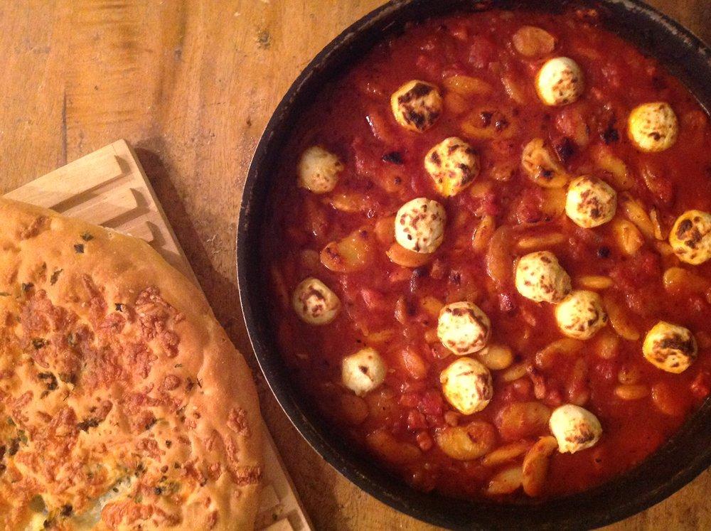 beans and mozzarella