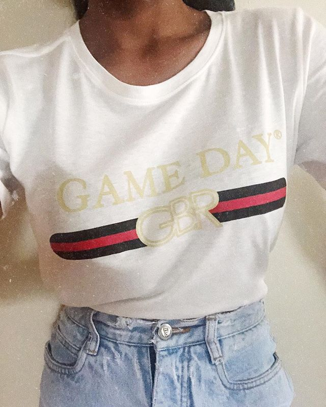 When G U C C I meets Game Day gear!!! Who's ready for an (actual) game tomorrow? 🏈🎈 . ❤️ Introducing our Gucci Gang GBR tee available in store and online NOW ❤️ Snag these while you can babes, they'll go quick! ❤️ PS - you need this $30 . #guccigang #gameday #gbr