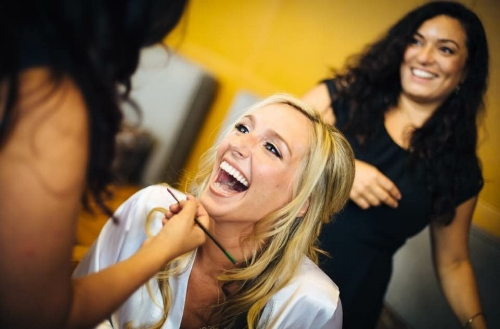 Rosa and her Makeup artist doing what they love. The client's smile says it all!