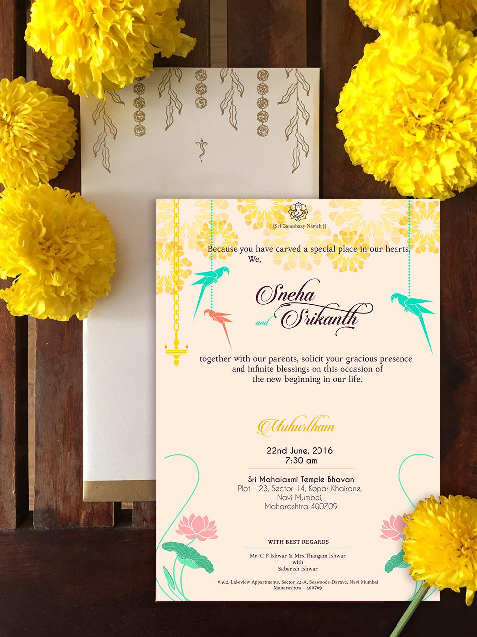 Wedding Invitation Sowmya Iyer
