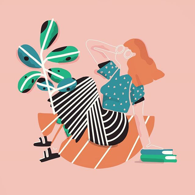 Morning Illustration! No theme! Just reading the books I have! :) #illustration #graphicdesign #women #mornings #design #newyork