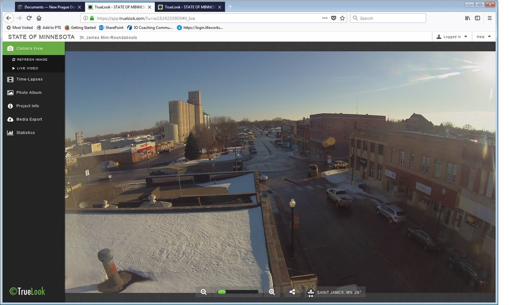 Click to access live video of st james, mn mini-roundabout in action