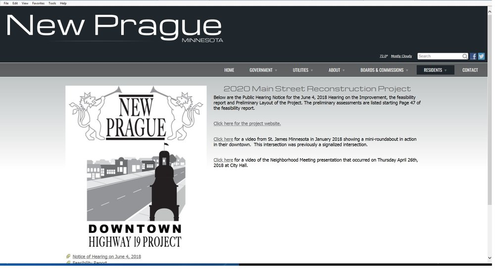 City of New Prague posts Feasibility Report and Notice of Hearing -
