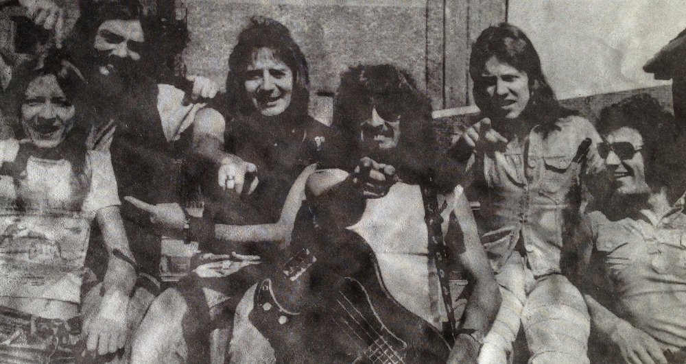 L to R: George Defty, Dave Ditchburn, Vic Malcolm, Franky Gibbon, me, Brian Johnson, circa 1975.