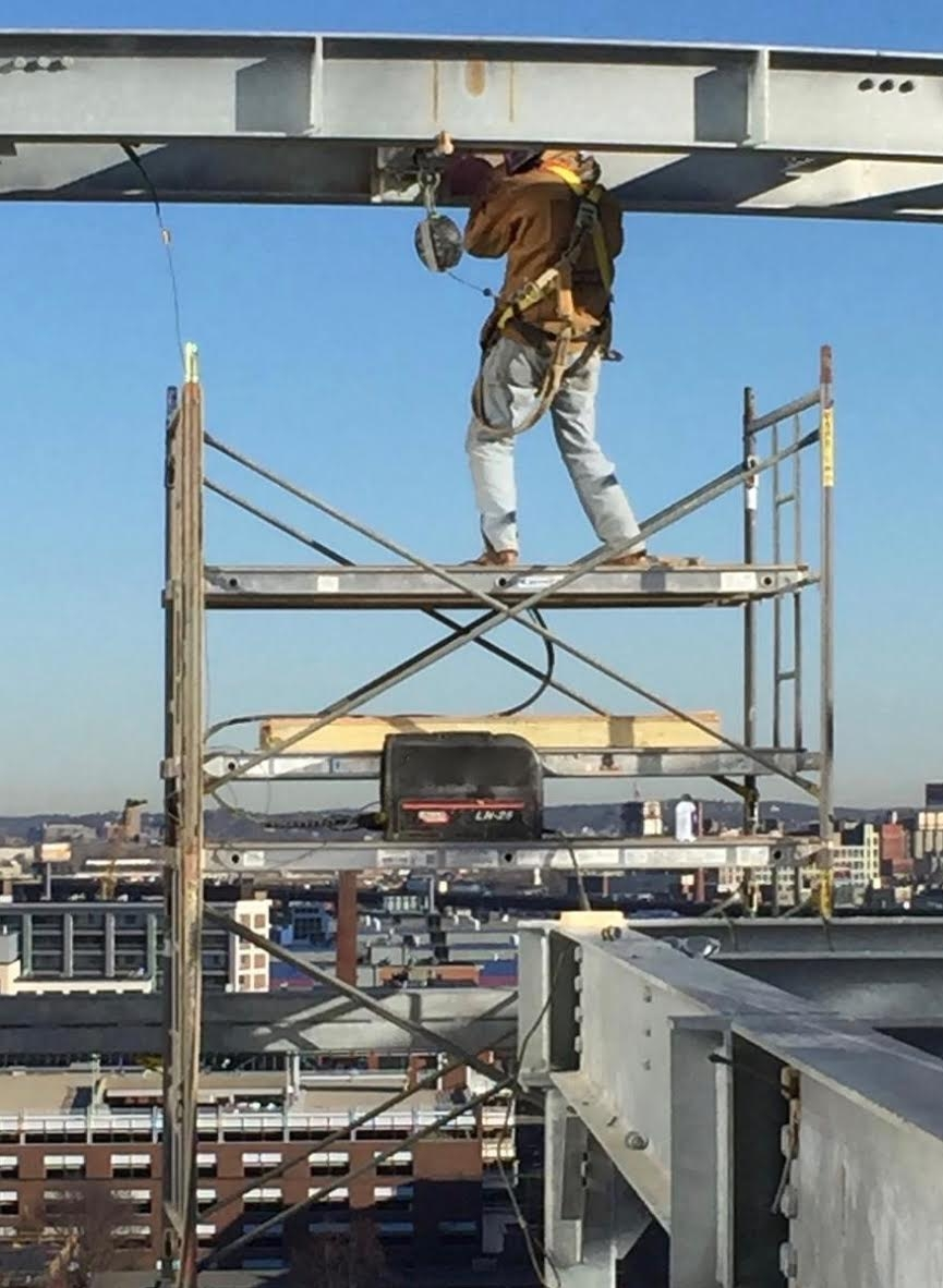 Welding on Scaffolding