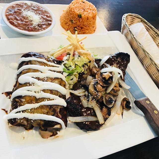 Sunday special. #nystripsteak #enchiladas #mole #enchilada #arroz #frijoles #mexicanfood #peruvianfood #greatfood #freshfood #foodporn #portchesterny