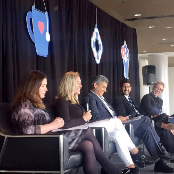 Emily Frith (Director of Mental Health at the Education Policy Institute), Me, Rick Fernandes (Executive Director of the Fred Rogers Center), Dr Sameer Hinduja (Co-Director of the Cyberbullying Research Center) and Caroline Millin (Facebook Safety Policy Programs lead across Europe, Middle East and Africa)