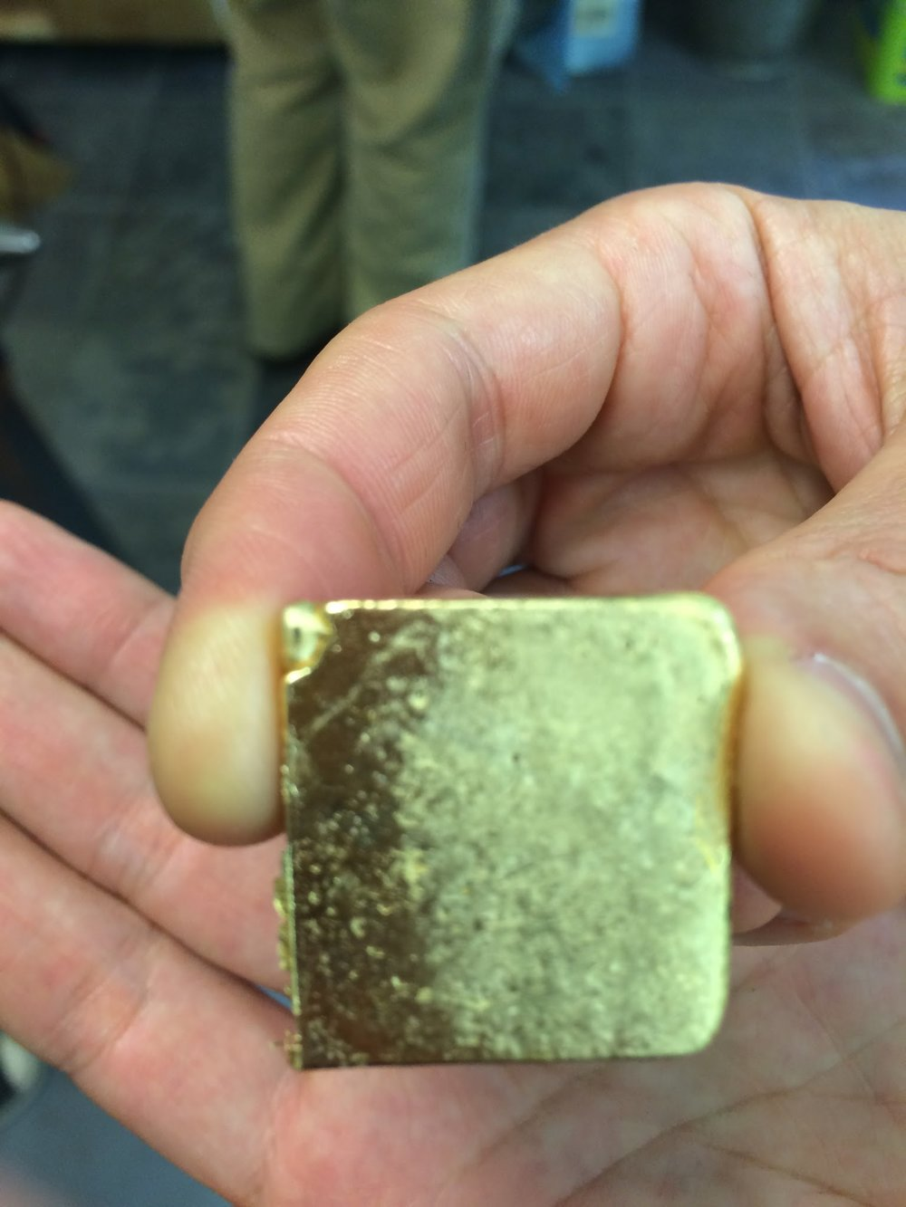 An ingot of 18K yellow gold that I poured