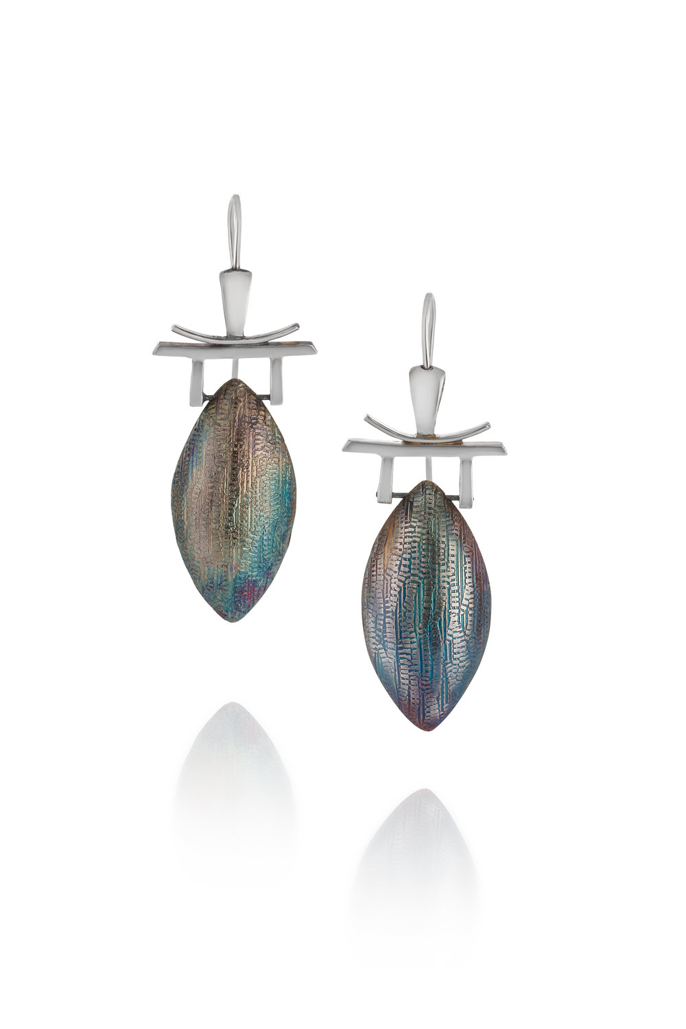 Still Waters Pagoda Earrings With Patina