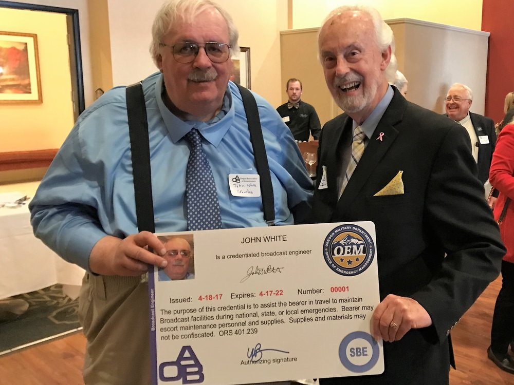 John White was presented the first credential under the First Informer program.  White led SBE's efforts to create the training certification and credentialing program.  White is seen here with Bill Johnstone, OAB President & CEO Emeritus, who spearheaded the creation of the First Informer legislation.