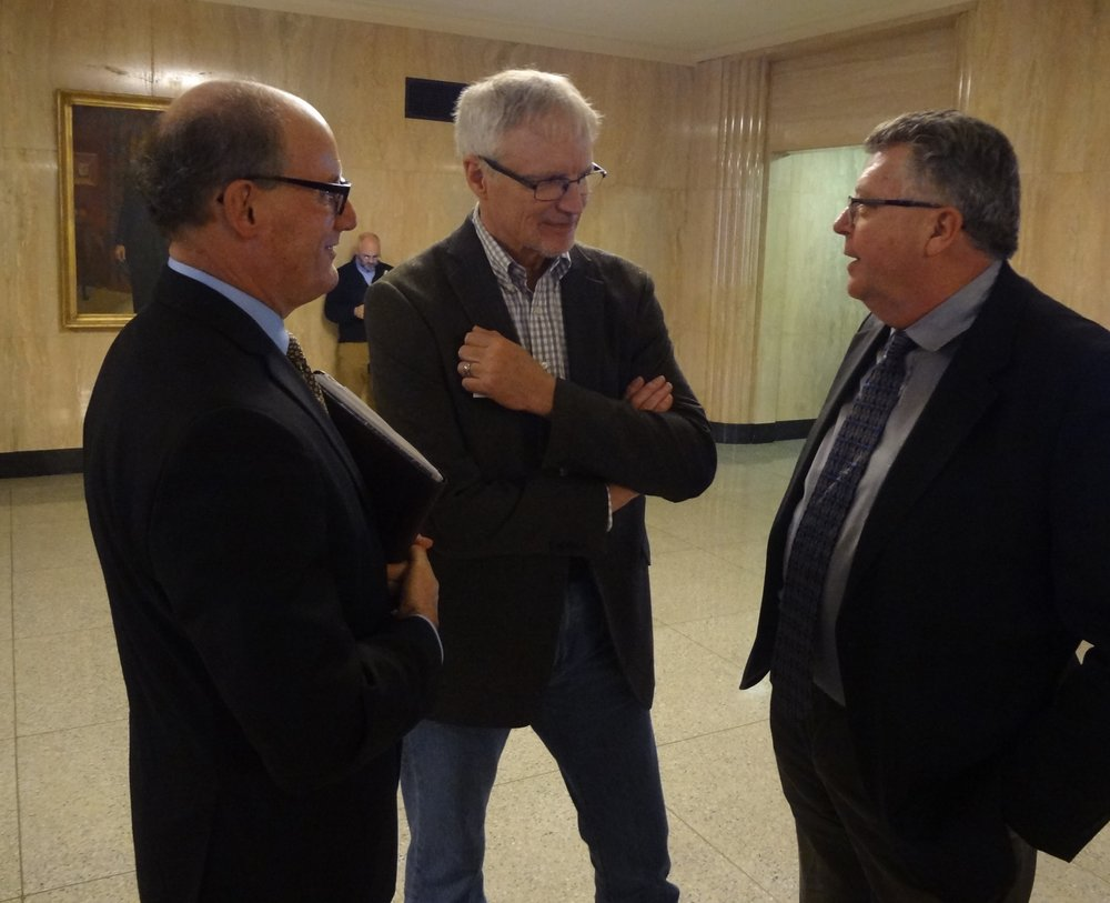 Rep. Carl Wilson (center) visits with OAB Board Member Bob Singer (left) and 2001 OAB Broadcaster of the Year Mike Cheney at OAB Day at the Capitol.