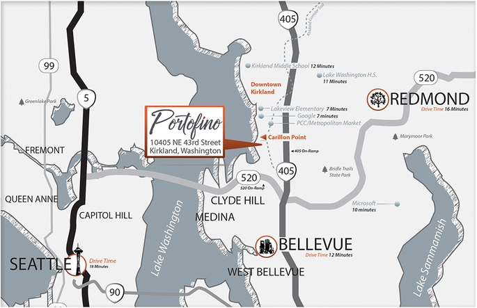 Portofino Area Map - Kirkland, Washington