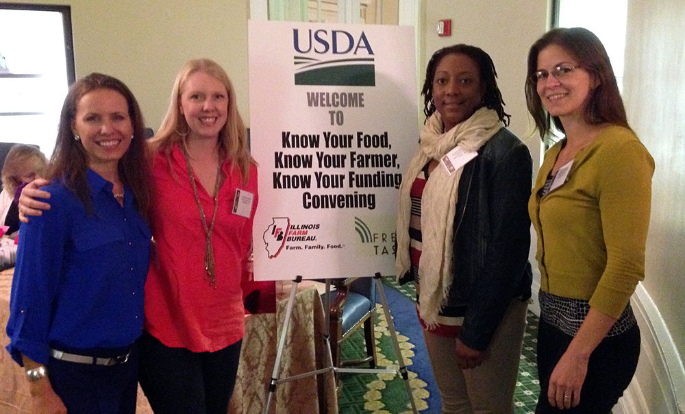 Members of the Task Force to Create an NWI Food Council attended a 2015 USDA event. Left to right: Gabrielle Biciunas, Lyndsay Ploehn, Arleen Peterson, Sarah Highlen.
