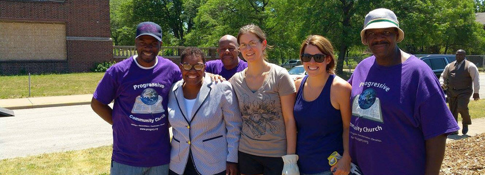 Volunteers from the Council and Progressive Community Church pose with Mayor Karen Freeman-Wilson