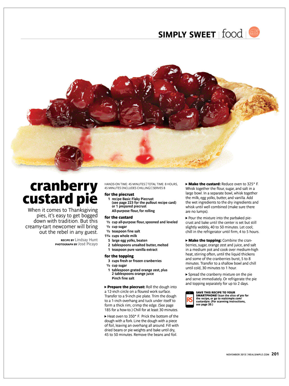 Cranberry Custard Pie  Real Simple