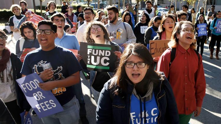 Photo: Karl Mondon/Bay Area News Group; Berkeley students protesting outside of a regents meeting in San Francisco