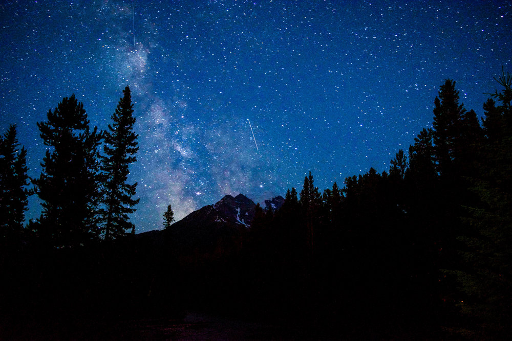 A friend and I ventured out of our campsite in Banff National Park late at night to capture images of the Milky Way peaking out from behind the dramatic Mt. Temple.