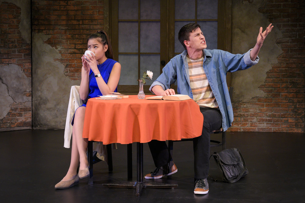 After meeting in a café, Betty (Christina Nguyen) and Bill (Patrick Yorkgitis) must find their way through a conversational minefield littered with false starts. Photo: Alessandra Mello