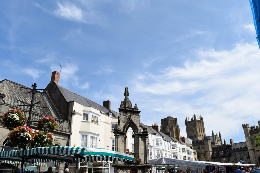 Market Day in the cathedral city of Wells in Somerset, England.