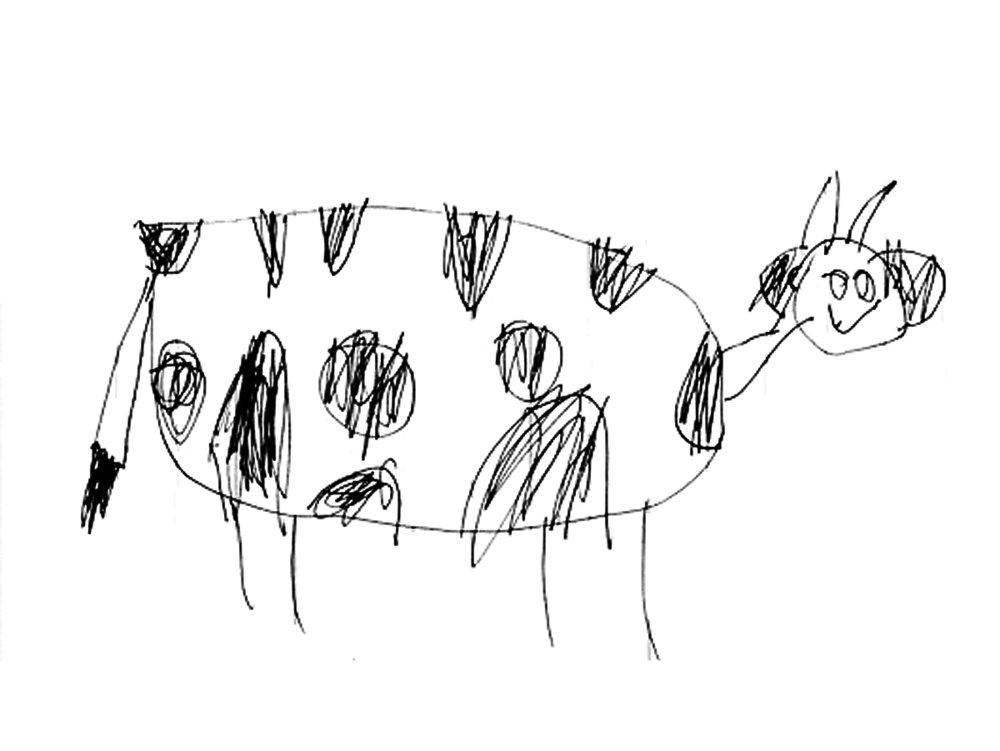 an early Milk Truck logo design by Ry Klein, age 4