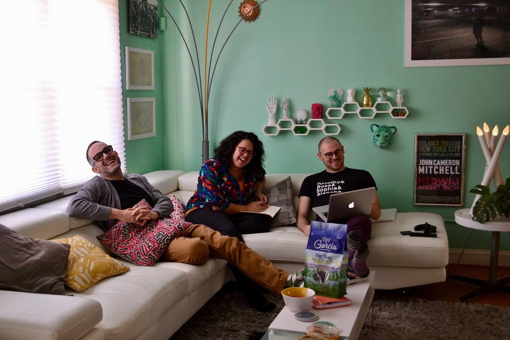Michelle Ivette Gomez - Founder of Creative Unions sitting with Creative Unions' pioneer couple Zachary Z. Handler (left) and Nick Horan (right)