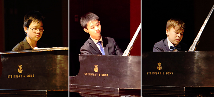 2018 Geringas Scholarship runners-up (left to right): Eric Guo, Raymond Huang, Elijah Orlenko.