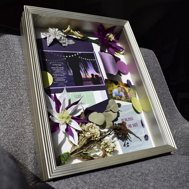 In honor of my 1 year anniversary, I'm looking back at the fond memories of our wedding day! Create a shadow box after your wedding to preserve these memories for many more years to come.  #lovemyhusband #firstofmanymoreyears #weddingmemories