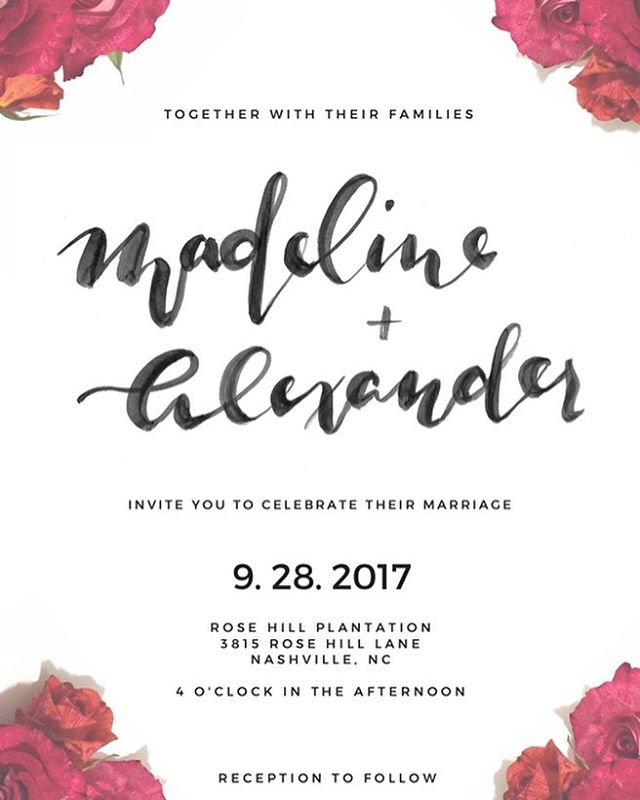 I just ❤ LOVE ❤ this beautiful invitation from @raleighcalligraphy! Invitations are only one of many ways to bring a little calligraphy into your wedding. Find out more tomorrow in our collab blog post! #blogpostpreview #weddingcalligraphy #weddings #weddinginspo #weddinginvitations