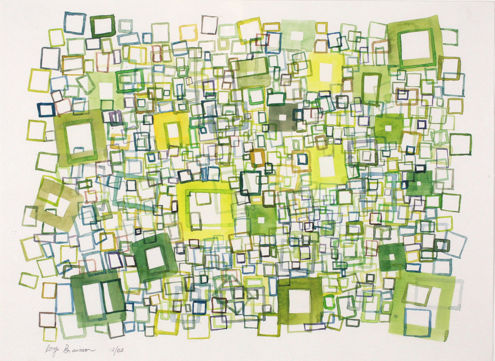 2003. Green Squares. 9 x 12""