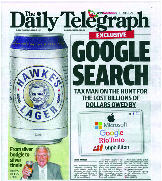 Front Page Daily Telegraph 6 April copy.jpg