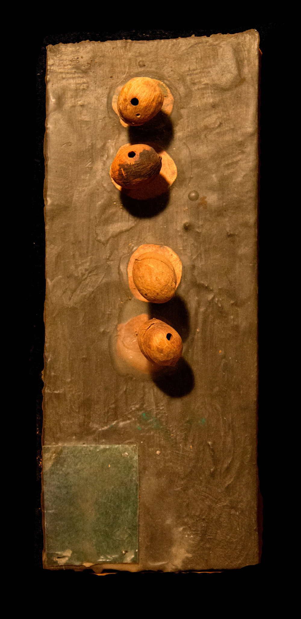 "Oak Ave Talisman Acrylic, beeswax, copper, photograph, sticks and oak seeds on wood. 4.5"" x 8""  2016"