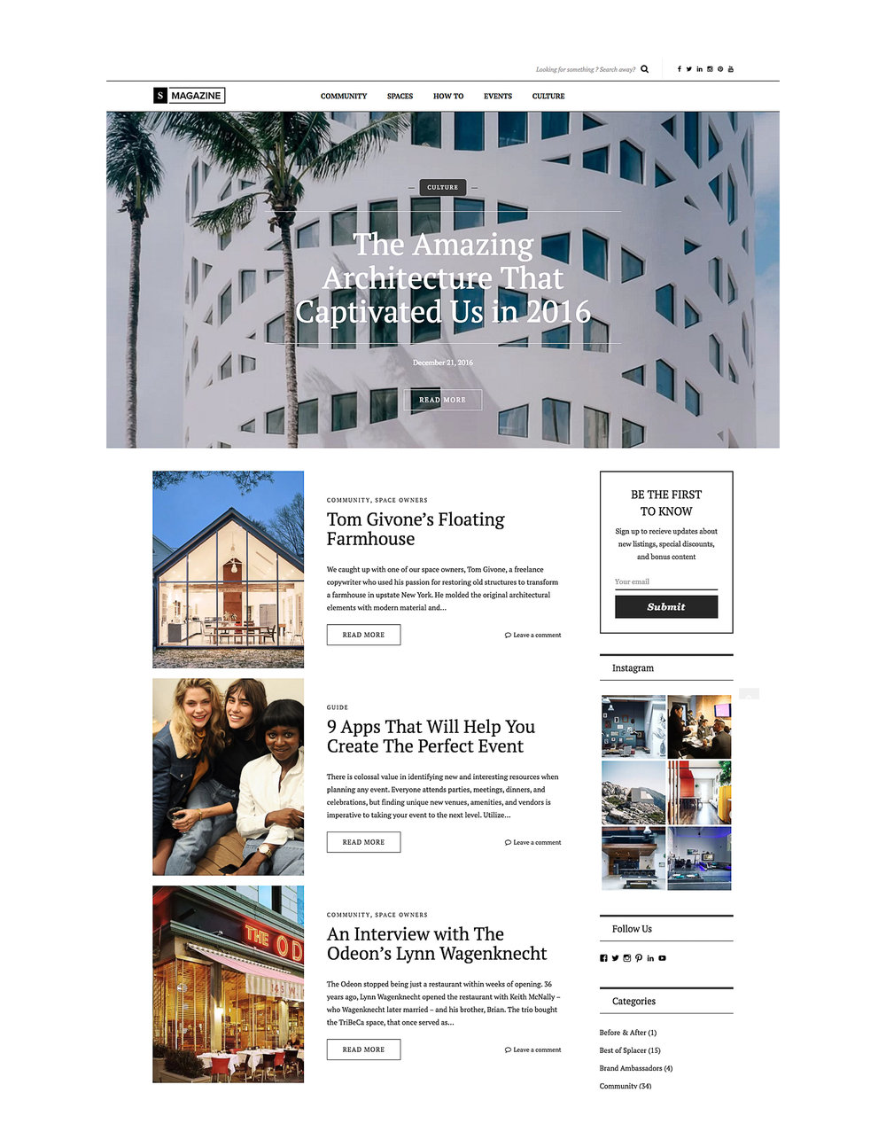 Web Design of Splacer's Magazine