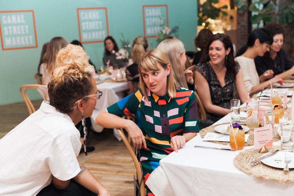 Jenna Wortham (NYT) and designer Ellen Van Dussen at Passerbuys x West Elm x Sonos Playlist Potluck Private Dinner