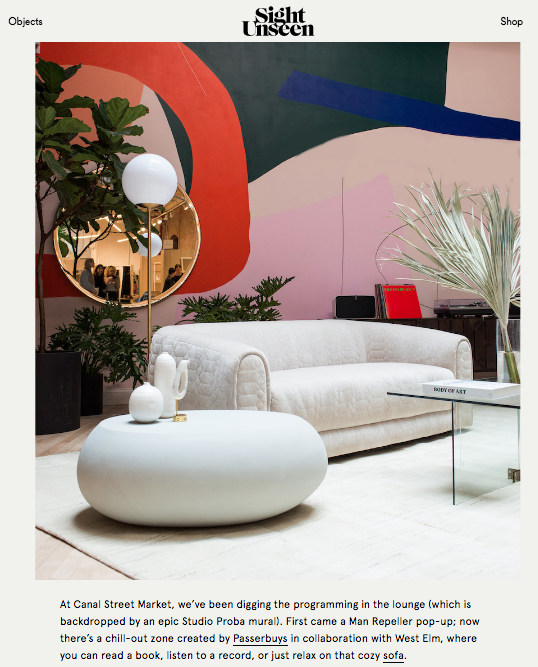 Passerbuys Lounge presented by West Elm featured in Sight Unseen