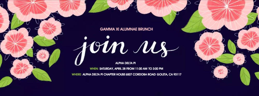 You're invited to Alpha Delta Pi's annual Alumnae Brunch!  We can't wait to welcome you back to our chapter house, share your ADPi stories, and introduce you to some of our wonderful collegians.   Email Kelli Des Rochers, Alumni Relations Chair, with any questions at  alumnaegammaxi@gmail.com