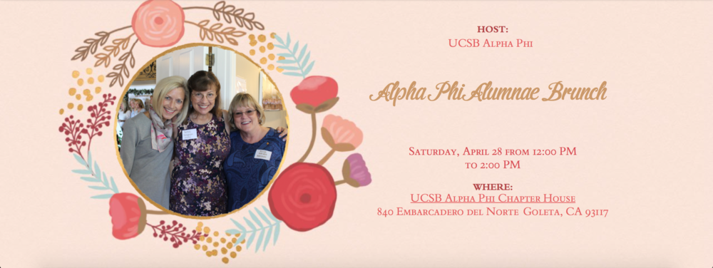 We are so happy to welcome back our Gamma Beta sisters to  UCSB's All Gaucho Reunion weekend on Saturday, April 28th from 12-2pm. Enjoy light refreshments while sharing stories and revisiting your beautiful home with old friends!  Please contact Claudia & Carly at  gammabetadoar@gmail.com  with any questions.