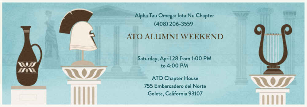 Alumni Weekend is a great opportunity for not only our collegiate brothers to get to know more about our Alumni brothers, but for you Alumni to come out and see for yourselves how the legacy of Alpha Tau Omega is living on today. The Saturday of the 28th will be when our Chapter house will be hosting our BBQ with hotdogs, hamburgers and necessary drinks. Our collegiate brothers are very excited to meet and share a great weekend with you all.   Email Alumni Chair Sam Suh at  samsuh02@yahoo.com  if you have any questions