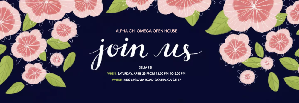You're invited to Alpha Chi's Open House! We can't wait to hear your stories and welcome you back to Delta Psi.   Email Lindsey Schloetter, Alumnae Relations Chair, at  axoucsb.arc85@gmail.com  with any questions.