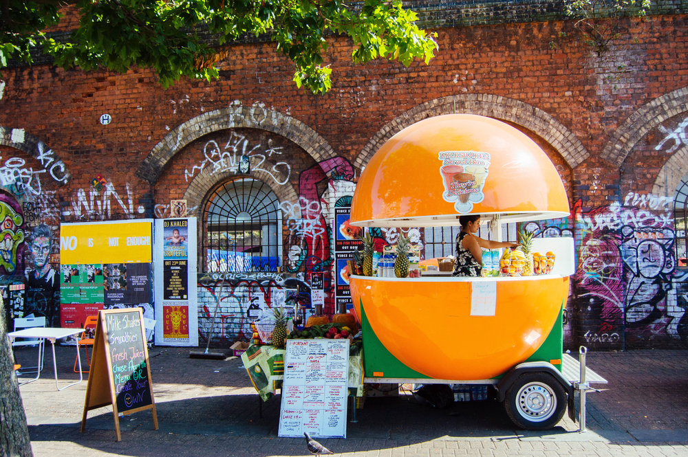 Roadside smoothie bar in Shoreditch