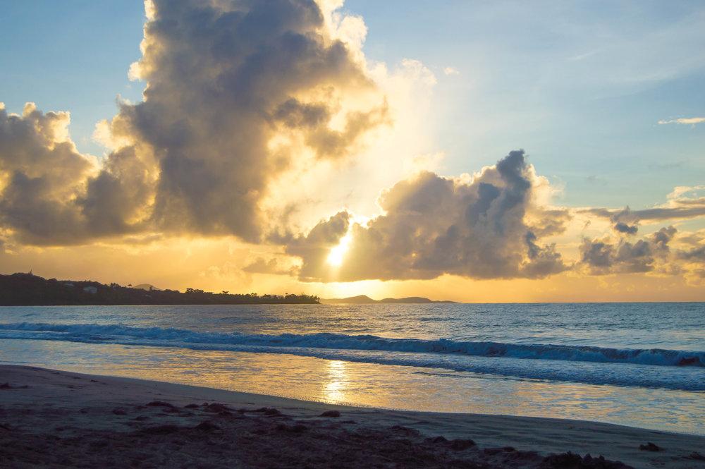 Sunrise at Diamond Beach in Le Diamant